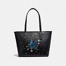 COACH F22253 City Zip Tote With Bird SILVER/BLACK
