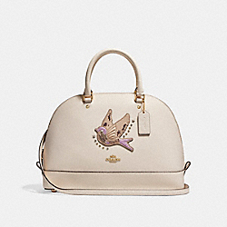 SIERRA SATCHEL WITH BIRD - f22255 - LIGHT GOLD/CHALK