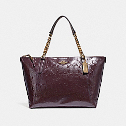 AVA CHAIN TOTE - f22260 - LIGHT GOLD/OXBLOOD 1