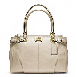 MADISON KARA CARRYALL IN LEATHER - f22262 -  BRASS/PARCHMENT
