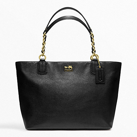 COACH F22263 MADISON LEATHER LARGE TOTE BRASS/BLACK