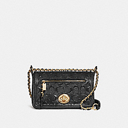 LEX SMALL FLAP CROSSBODY - f22292 - LIGHT GOLD/BLACK