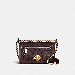 LEX SMALL FLAP CROSSBODY - f22292 - LIGHT GOLD/OXBLOOD 1