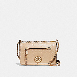 LEX SMALL FLAP CROSSBODY - f22292 - LIGHT GOLD/PLATINUM