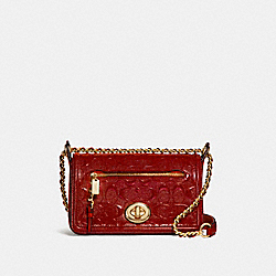 LEX SMALL FLAP CROSSBODY - f22292 - LIGHT GOLD/DARK RED