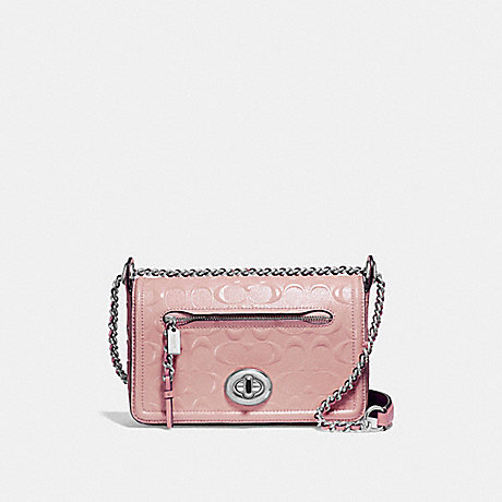 COACH f22292 LEX SMALL FLAP CROSSBODY SILVER/BLUSH 2
