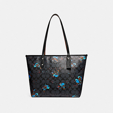 COACH f22293 CITY ZIP TOTE WITH BIRD PRINT SILVER/BLACK SMOKE