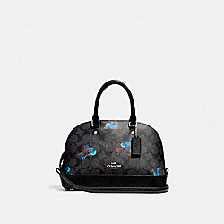 MINI SIERRA SATCHEL WITH BIRD PRINT - f22294 - SILVER/BLACK SMOKE