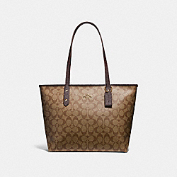 COACH F22296 City Zip Tote LIGHT GOLD/KHAKI