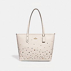 COACH F22299 City Zip Tote With Stardust Studs LIGHT GOLD/CHALK