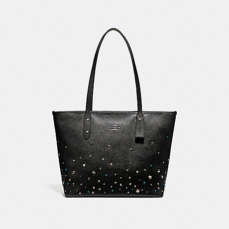COACH f22299 CITY ZIP TOTE WITH STARDUST STUDS SILVER/BLACK