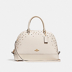 SIERRA SATCHEL WITH STARDUST STUDS - f22300 - LIGHT GOLD/CHALK