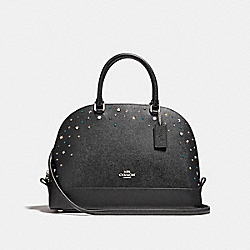 SIERRA SATCHEL WITH STARDUST STUDS - f22300 - SILVER/BLACK