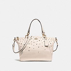 SMALL KELSEY SATCHEL WITH STARDUST STUDS - f22312 - LIGHT GOLD/CHALK