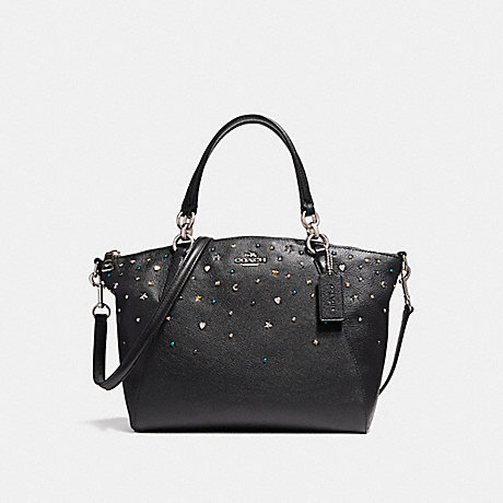 COACH f22312 SMALL KELSEY SATCHEL WITH STARDUST STUDS SILVER/BLACK
