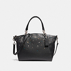 SMALL KELSEY SATCHEL WITH STARDUST STUDS - f22312 - SILVER/BLACK