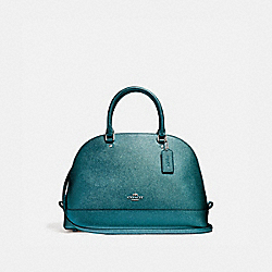 SIERRA SATCHEL - f22313 - BLACK ANTIQUE NICKEL/METALLIC DARK TEAL