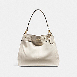COACH F22314 - LEXY SHOULDER BAG WITH STARDUST STUDS LIGHT GOLD/CHALK