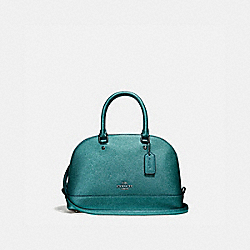MINI SIERRA SATCHEL - f22315 - BLACK ANTIQUE NICKEL/METALLIC DARK TEAL