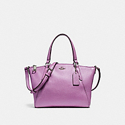 COACH F22316 Mini Kelsey Satchel In Metallic Pebble Leather SILVER/METALLIC LILAC