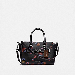 MINI BLAKE CARRYALL WITH PRIMROSE FLORAL PRINT - f22318 - ANTIQUE NICKEL/BLACK MULTI