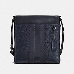 METROPOLITAN SLIM MESSENGER WITH BASEBALL STITCH - F22345 - MIDNIGHT NAVY/BLACK ANTIQUE NICKEL