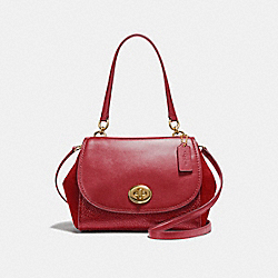 COACH F22348 Faye Carryall LIGHT GOLD/TRUE RED
