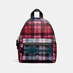 COACH F22351 Mini Charlie Backpack With Shadow Plaid Print SILVER/RED MULTI