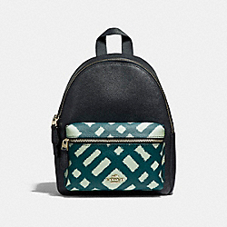 COACH F22352 Mini Charlie Backpack With Wild Plaid Print Pocket SVMUZ