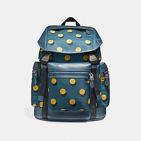 COACH f22360 TERRAIN TREK PACK WITH OPTICAL DOT PRINT BLACK ANTIQUE NICKEL/MUSTARD MULTI DOT