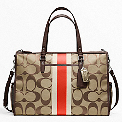 COACH F22364 Baby Bag Signature Stripe Double Zip Tote