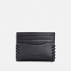 SLIM CARD CASE WITH BASEBALL STITCH - f22370 - BLACK