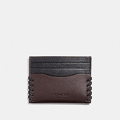 2696ffe7 COACH F22370 - SLIM CARD CASE WITH BASEBALL STITCH - OXBLOOD/BLACK ...