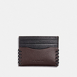 COACH F22370 Slim Card Case With Baseball Stitch OXBLOOD/BLACK
