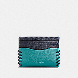 COACH F22370 - SLIM CARD CASE WITH BASEBALL STITCH CYAN