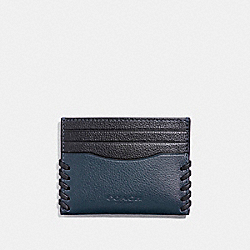 SLIM CARD CASE WITH BASEBALL STITCH - f22370 - DENIM/MIDNIGHT