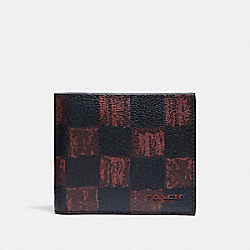 COACH F22375 3-in-1 Wallet With Graphic Checker Print OXBLOOD MULTI CHECKER