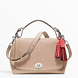 COACH F22386 - PERFORATED LEATHER ROMY TOP HANDLE SILVER/BISQUE/HIBISCUS