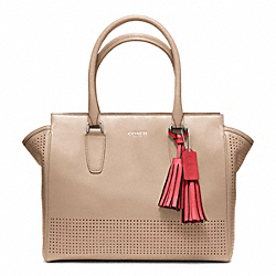 COACH F22390 - MEDIUM CANDACE CARRYALL IN PERFORATED LEATHER  SILVER/BISQUE/HIBISCUS