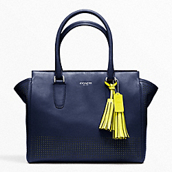 COACH F22390 - PERFORATED LEATHER MEDIUM CANDACE CARRYALL SILVER/NAVY/BRIGHT CITRINE