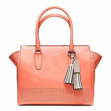 COACH f22390 PERFORATED LEATHER MEDIUM CANDACE CARRYALL