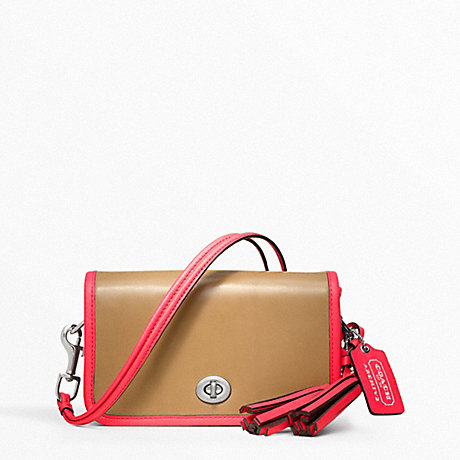COACH F22406 PENNY ARCHIVAL TWO-TONE LEATHER SHOULDER PURSE SILVER/LIGHT-SAND/WATERMELON