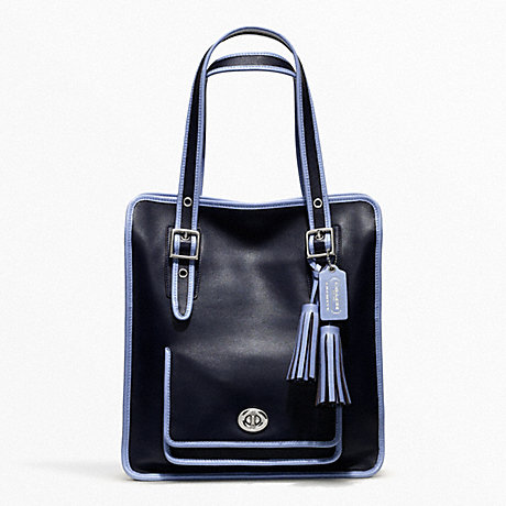 COACH f22410 ARCHIVAL 2-TONE LEATHER MAGAZINE TOTE SILVER/NAVY/CHAMBRAY