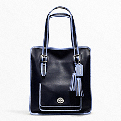 COACH F22410 - ARCHIVAL 2-TONE LEATHER MAGAZINE TOTE SILVER/NAVY/CHAMBRAY