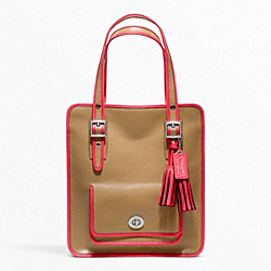 COACH F22410 - ARCHIVAL 2-TONE LEATHER MAGAZINE TOTE SILVER/LIGHT SAND/WATERMELON