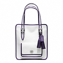 COACH F22410 - ARCHIVAL TWO TONE LEATHER MAGAZINE TOTE SILVER/CHALK/MARINE