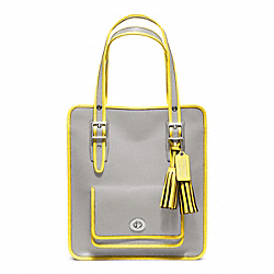 COACH F22410 - ARCHIVAL TWO TONE LEATHER MAGAZINE TOTE SILVER/GREY/LEMON
