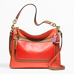 POPPY PERRI HIPPIE BAG IN COLORBLOCK LEATHER - f22432 -  BRASS/VERMILLION/SUN ORANGE