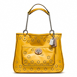 COACH F22438 - POPPY EYELET LEATHER MEDIUM CHAIN TOTE ONE-COLOR
