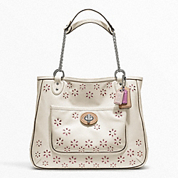 COACH F22438 - POPPY EYELET LEATHER MEDIUM CHAIN TOTE SILVER/WHITE